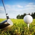 Playing golf. Golf club and ball. Preparing to shot